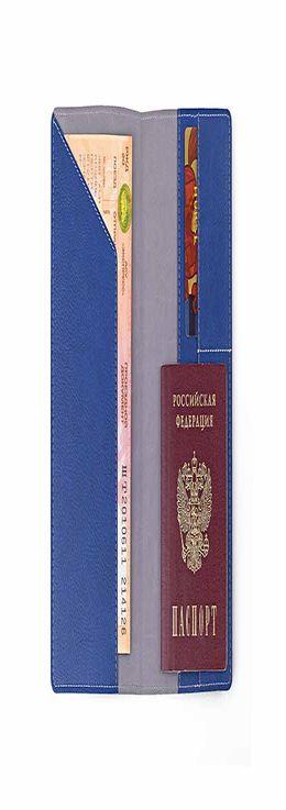 Тревеллер 240*120 мм., искусственная кожа,синий/серый фото