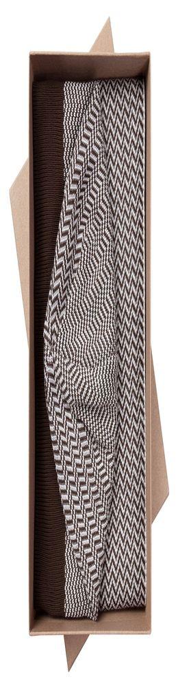 Набор Steps: шарф и шапка, коричнево-белый фото