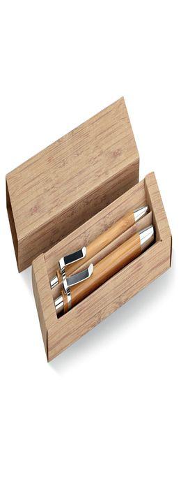 Набор из бамбуковых авторучки и карандаша фото