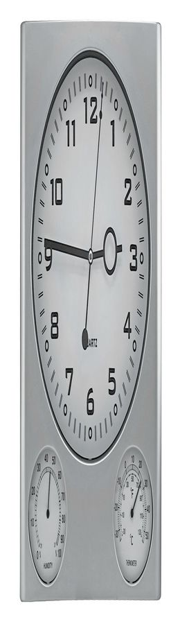 Часы настенные с термометром и гигрометром; 26,6х3,1х31,1 см; пластик; без элементов питания фото