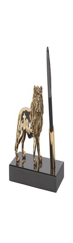 """Подставка настольная """"Лев"""", с ручкой, на деревянной основе, позолота, h 11,5 см фото"""