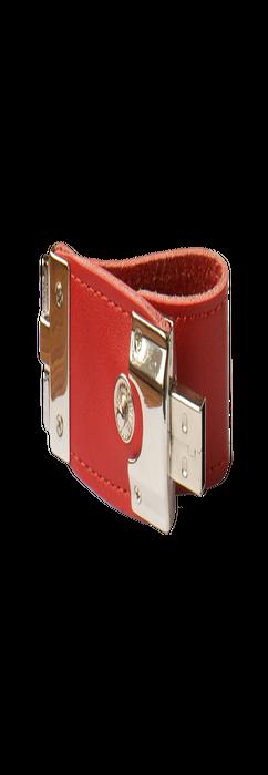 Флешка брелок Промоскин, металлическая с кожаными вставками, красная, 4Гб фото