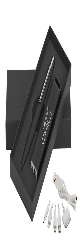 Набор ручка c флеш-картой 8Гб + зарядное устройство 2800 mAh в футляре, покрытие soft touch фото