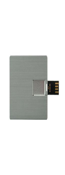 Флешка карточка Визитка металлическая, серебристая, 16Гб фото