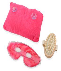 СПА-набор «Блаженство»: массажер для тела, подушка под шею на присосках, охлаждающая гелевая маска для глаз и век фото