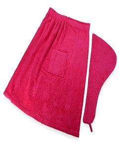Набор для сауны: парео на липучке с карманом, чалма с петлей на пуговице фото