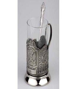 Набор: стакан с подстаканником и ложкой «Герб России» фото