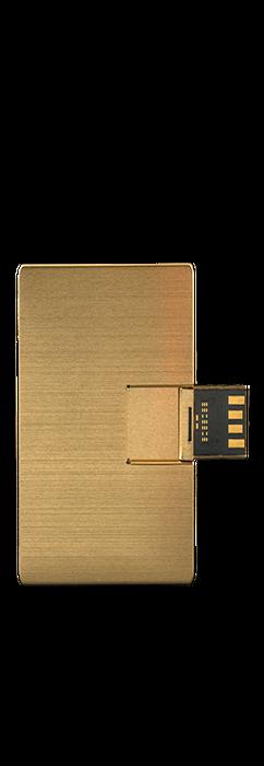 Флешка карточка Визитка металлическая, золотая, 8Гб фото