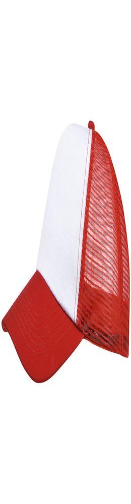 Бейсболка BULL, белая с красным фото
