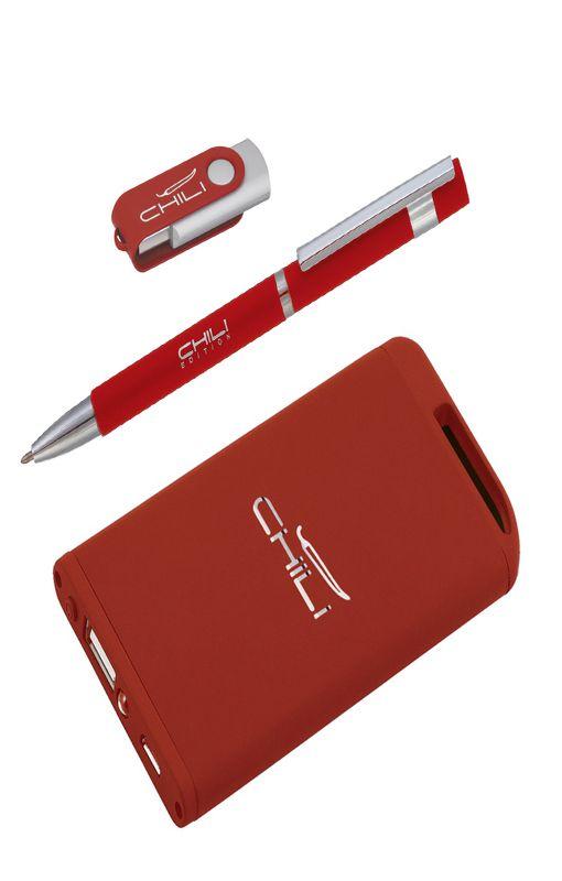 Набор: ручка, флеш-карта 8 Gb, зарядное устройство 4 000 mAh  фото