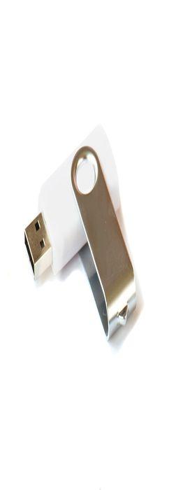 Флешка Твист, пластиковая с металлической крышкой, белая, 4Гб фото
