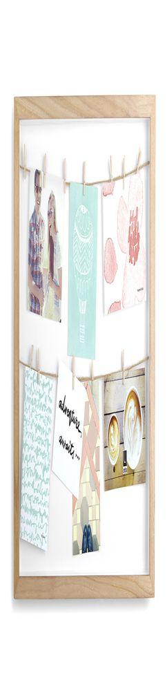Панно с зажимами для 12 фотографий clothesline натуральное дерево фото