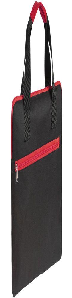 Конференц-сумка Unit Сontour, черная с красной отделкой фото