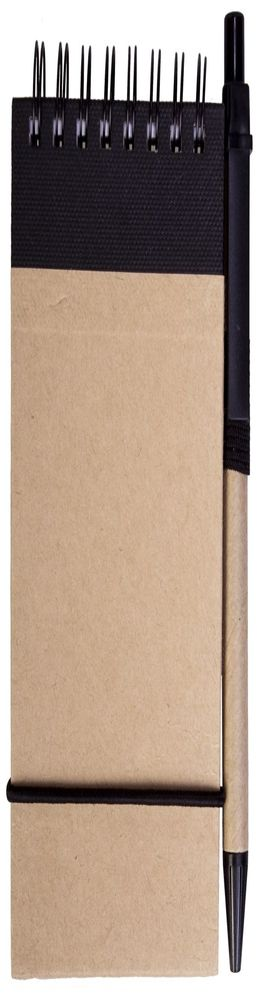 Блокнот на кольцах, Eco note с ручкой, черный фото