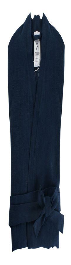 Халат из умягченного льна темно-синего цвета фото