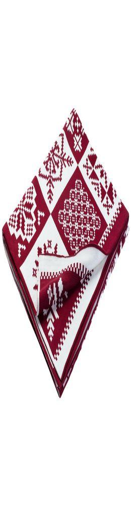 Плед «Скандинавские узоры», бордовый с молочно-белым фото