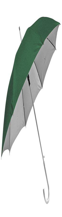 """Зонт-трость с пластиковой ручкой """"под алюминий"""" """"Silver"""", полуавтомат; зеленый с серебром фото"""