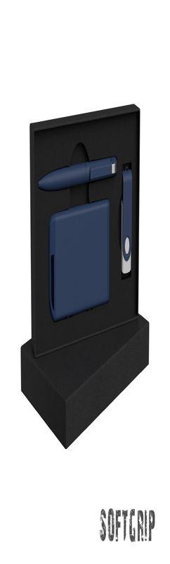 Набор ручка + флеш-карта 16Гб + зарядное устройство 4000 mAh в футляре, softgrip фото