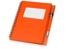 Блокнот в линейку на пружине с ручкой Контакт, 70 листов, оранжевый фото