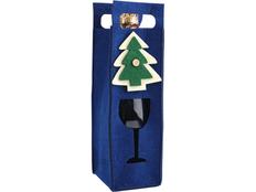 Декоративный чехол Новогодний для шампанского, синий фото