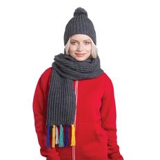 Набор GoSnow: вязаный шарф и шапка, антрацит фото