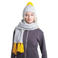 Набор GoSnow: вязаный шарф и шапка, светлый меланж/ желтый фото
