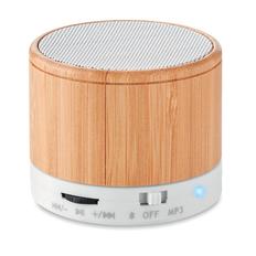 Колонка Bluetooth круглая, 450 mAh, 6x5 см, soft touch, натуральное дерево/ белая фото