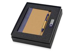 Набор подарочный Essentials: ручка, флешка и блокнот А5, коричневый/ синий фото