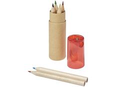 Набор цветных карандашей в тубусе с точилкой, 6 шт, крафт/ красный фото