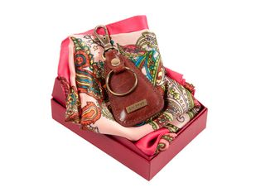 Набор женский: ключница, платок (кожа, шелк/полиэстер, цвет коричневый/разноцветный) фото