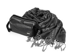 Набор женский: несессер, шарф, черный/ серый фото
