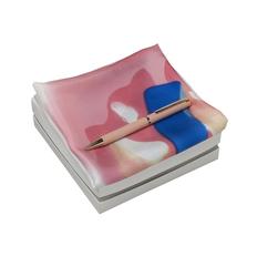 Набор: платок шейный, ручка шариковая, розовый / белый фото