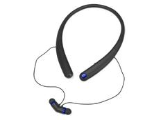 Наушники беспроводные внутриканальные спортивные, шейный обод, с микрофоном Soundway, черные/ черные/ синие фото