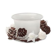 Подсвечник новогодний с шишками, белый фото