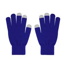 Перчатки для сенсорных экранов женские, синий/ серые фото