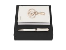 Набор подарочный Hugo Boss: блокнот А6, ручка шариковая, золотой/ бежевый фото