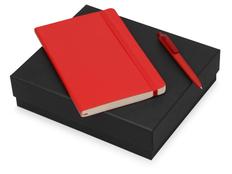 Набор подарочный Moleskine Indiana: блокнот А5, ручка шариковая, красный фото