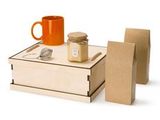 Набор подарочный Tea Duo Deluxe: кружка, мед, чай, ситечко, крафт / оранжевый фото