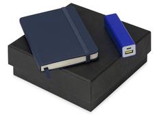 Набор To go с блокнотом А6 и зарядным устройством, синий фото