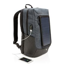 Рюкзак для ноутбука Swiss Peak на солнечных батареях, черный/серый меланж фото