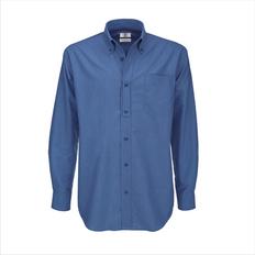 Рубашка с длинным рукавом мужская B&C Oxford LSL men, синяя фото