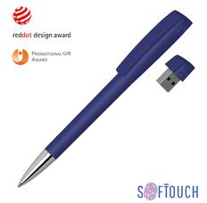 Ручка шариковая металлическая Klio Eterna с флешкой 16 Гб Turnus Soft-touch M, синяя фото