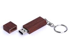 Флешка USB 2.0 прямоугольная форма, 4 Гб, колпачок с магнитом, коричневая фото