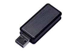 Флешка USB 2.0 на 4 Гб Промо, выдвижной механизм, черная/ хром фото