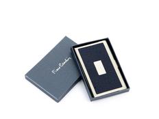 Визитница металлическая с вставкой из кожи, серый/темно-синий фото