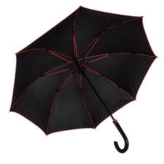 Зонт трость с цветными спицами полуавтомат Back To Black, черный / красный фото
