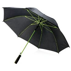 Зонт трость с цветными спицами полуавтомат XD Collection, черный / салатовый фото