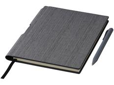 Блокнот в линейку с авторучкой Bardi А5, 80 листов, серый фото