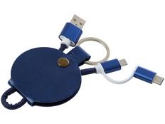 Брелок кабель 3 в 1: micro USB/ Lighting/ Type С, Gist, синий фото