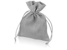 Мешочек подарочный новогодний с узором, светло-серый фото